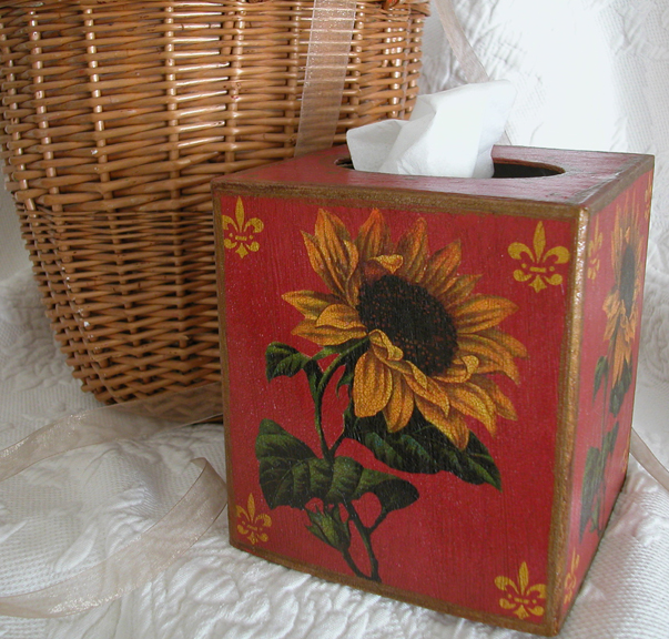 Sunflower on Red Tissue Box Cover