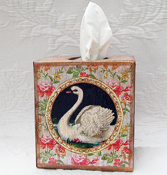 Swan Tissue Box Cover Floral