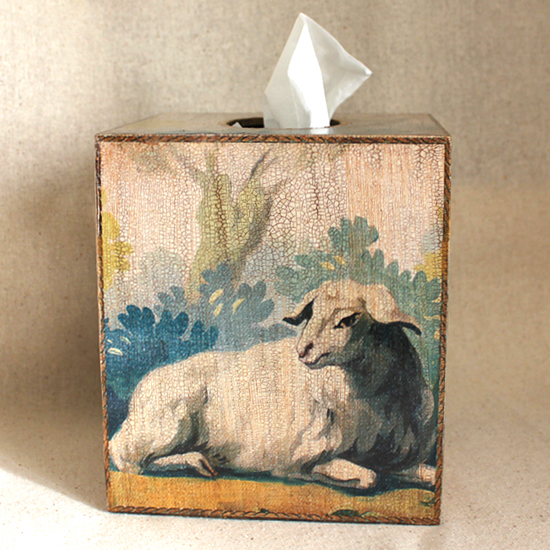 Lamb Tapestry Tissue Box Cover