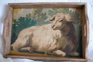 Lamb Tapestry Tray 14 by 20 inches