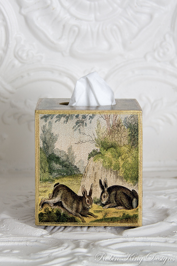 Two French Rabbits Tissue Box Cover