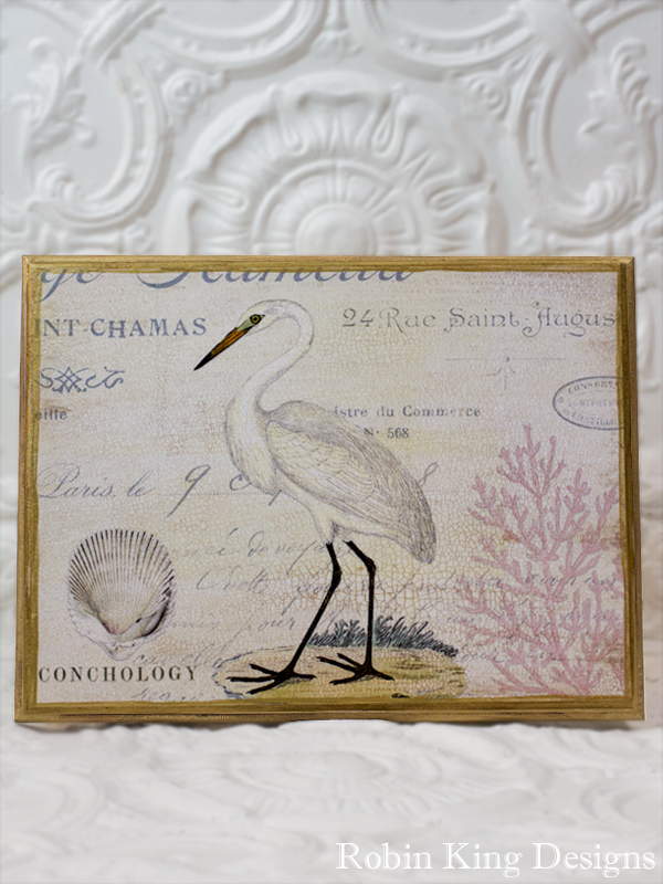 White Egret 12 by 16 Wood Plaque