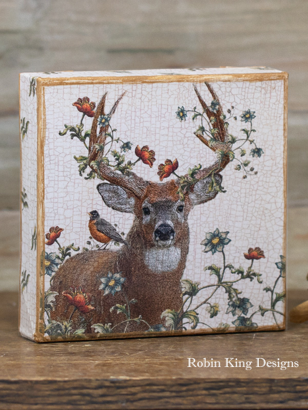Whitetail Buck Deer in Garden 6-Inch Square Gallery-Wrapped Canvas Art