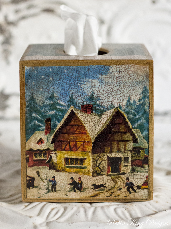 Winter House Tissue Box Cover