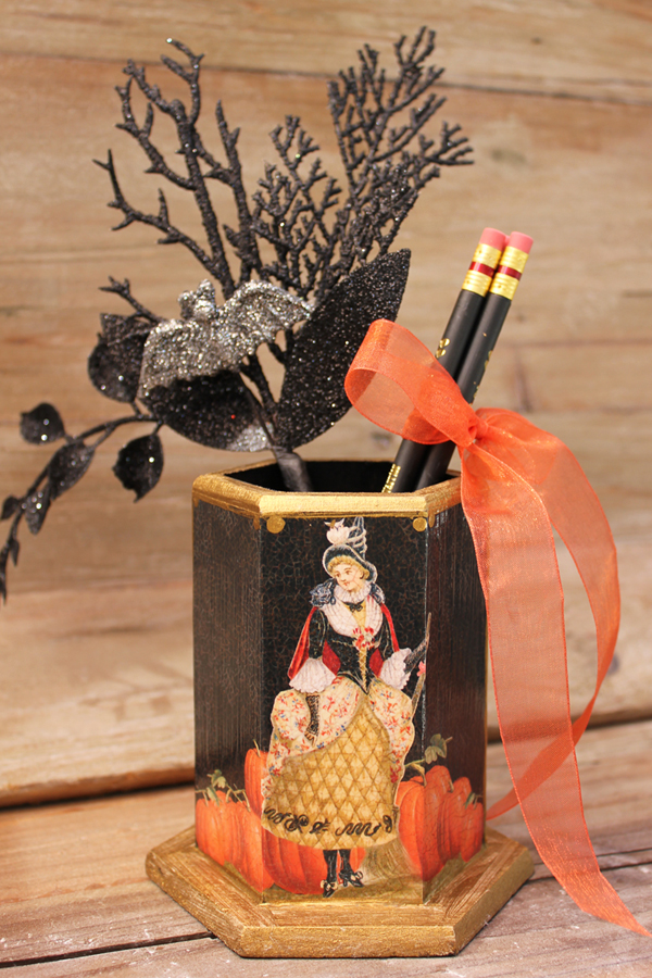 Witch and Pumpkin Pencil Holder