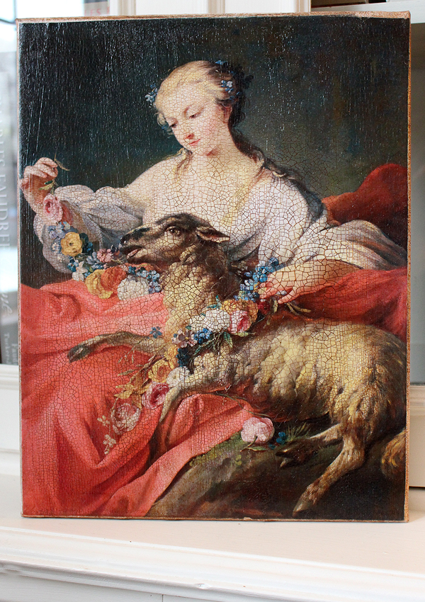 Woman with Lamb and Roses 8 by 10-inch Decoupage  Canvas Art