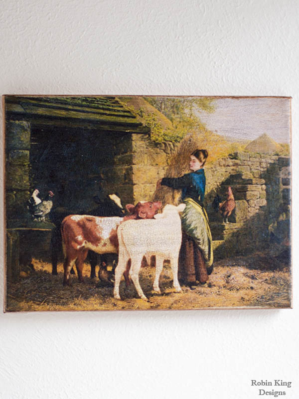 Woman with Cows 8 by 10-inch Decoupage Canvas Art