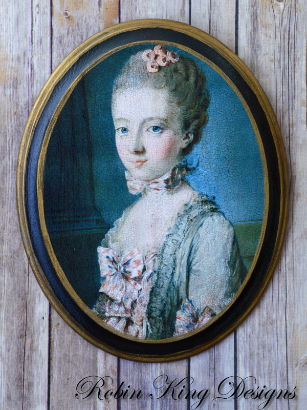 Young French Girl Oval Wood Picture